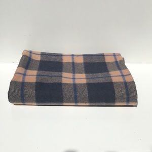 Vintage plaid wool blanket reversible green pink